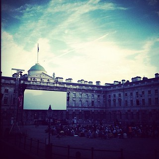 Beautiful evening to watch Hitchcock's The Birds. Happy Weekend, y'all! ☺ #weekend #london #cinema #gin #hitchcock #thebirds #film #somersethouse #summer #friday | by hollaa01