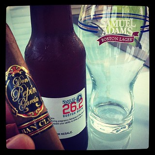 Sam Adams test brew, Sam glass and a Don Pepin Garcia | by bigguyd