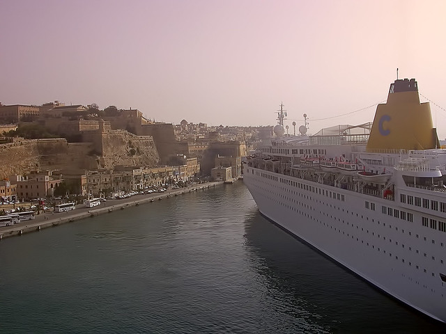 Costa Europa leaving Valletta, Malta
