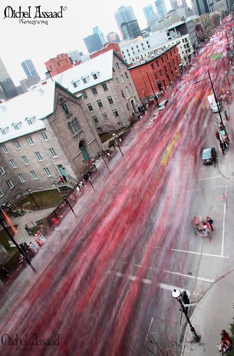 Sherbrooke is flooded with people #manif22mars #GGI #mar22 Overhead picture  #manifencours | by Michel Assaad