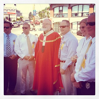 Cardinal O'Malley with the police detectives at the Fiesta | by mehjg
