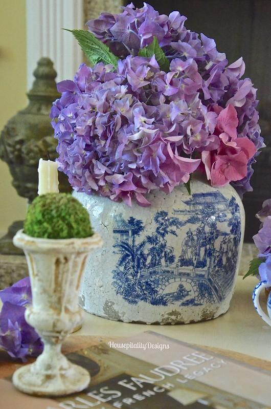 Chinoiserie Crock with Hydrangeas - Housepitality Designs