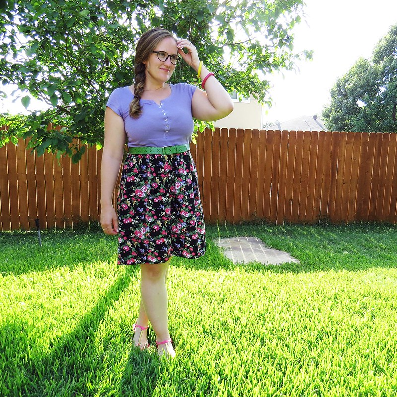 Floral T-Shirt Dress Refashion - After