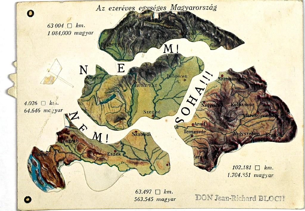 Carte de la Hongrie (au milieu) après le traité du Trianon avec autour les parties cédés aux voisins. La Transylvanie se trouve au nord et à l'est dans les actuelles Slovaquie, Ukraine et Roumanie. Image BDIC Nanterre.