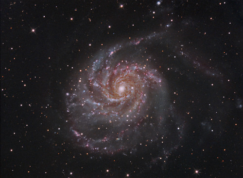 M101 The Pinwheel Galaxy in LRGB + HA | by Terry Hancock www.downunderobservatory.com