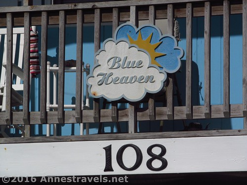 Sign assuring us that this really is Blue Heaven, 108 Raleigh Street, Holden Beach, North Carolina