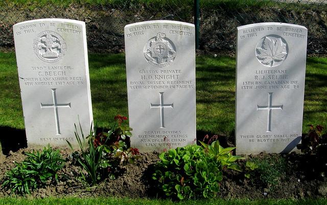 Hooge Crater Cemetery Memorial Stones