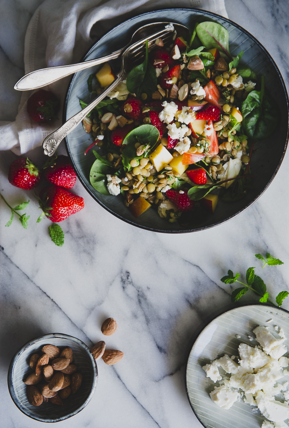 Herbed Lentil Salad with Nectarine, Strawberry, Honeyed Goat Cheese & Salted Almonds | Cashew Kitchen