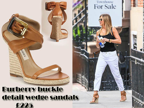 Jennifer Aniston in camel Burberry buckle detail wedge sandals