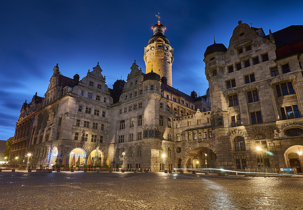 Rathaus by night, Leipzig, Germany
