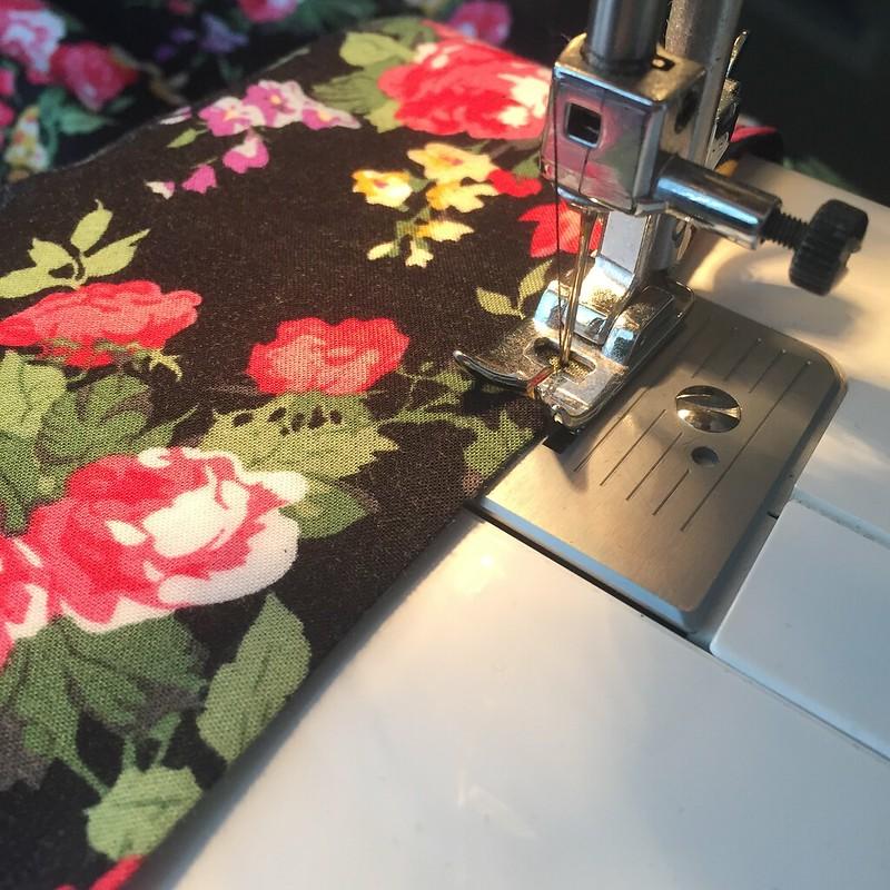 Floral T-Shirt Dress Refashion - In Progress