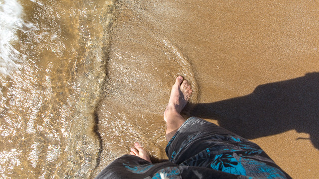 Clear Water on Bare Feet