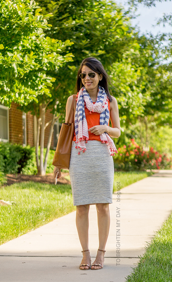 striped and pom pom scarf, orange lace tank, blue/green tweed pencil skirt, cognac brown tote, brown jeweled sandals