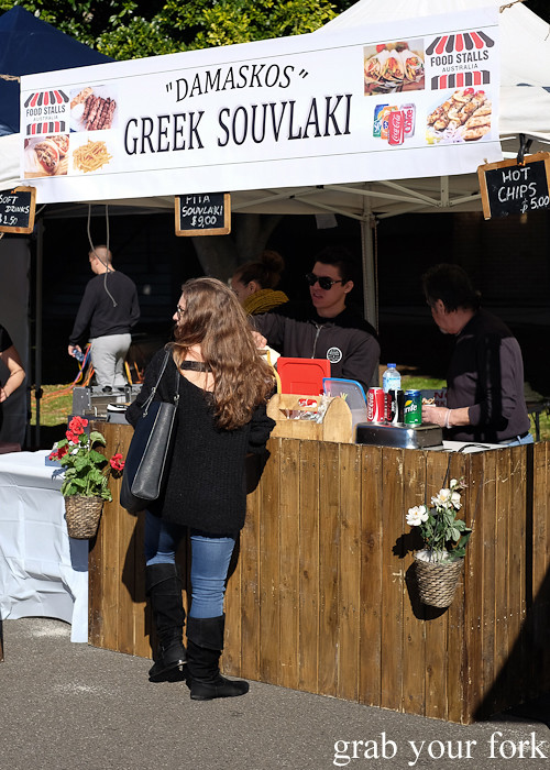 Damaskos Greek souvlaki at the Canterbury Foodies and Farmers Market, Sydney
