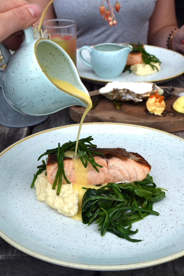 Pan Fried Salmon with Sea Vegetables, Samphire and Crushed Celeriac with Gin Mare Butter Sauce at Rocksalt | www.rachelphipps.com @rachelphipps