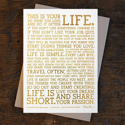 Holstee Manifesto in Gold Foil