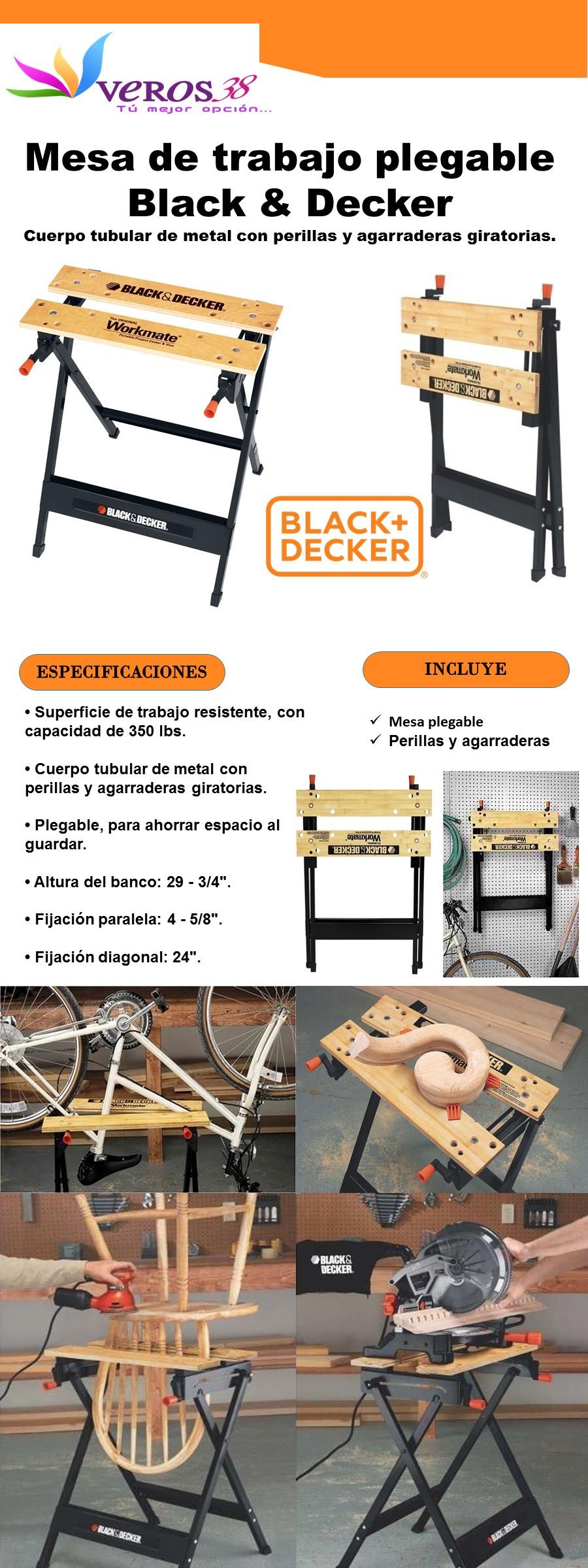 Mesa de trabajo port til y plegable black decker wm125 for Mesa de trabajo jardineria