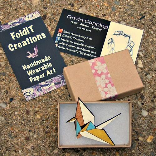 Wooden Origami Paper Crane Brooch