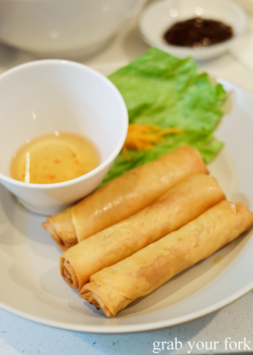 Pork and prawn spring rolls at Eat Fuh, Marrickville