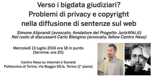 Nexa (Torino), 13/07/2016: Verso i big dati giudiziari?