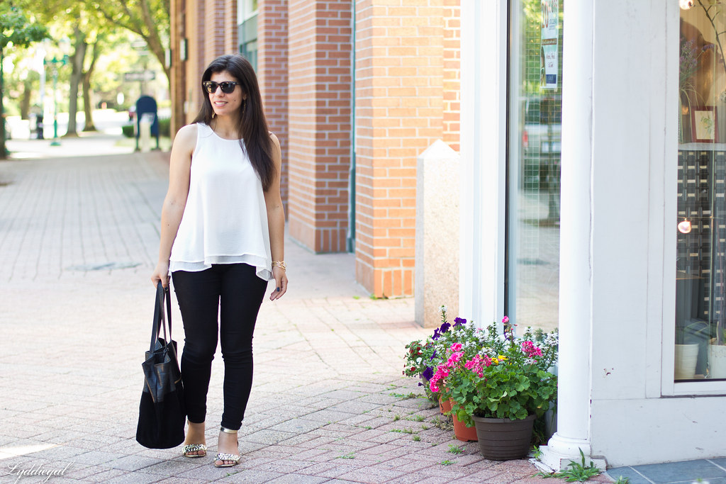 white trapeze tank, black pants, studded sandals-2.jpg