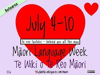 2016 Māori Language Week = Te Wiki o Te Reo Maori @reomaori @digitalmaori