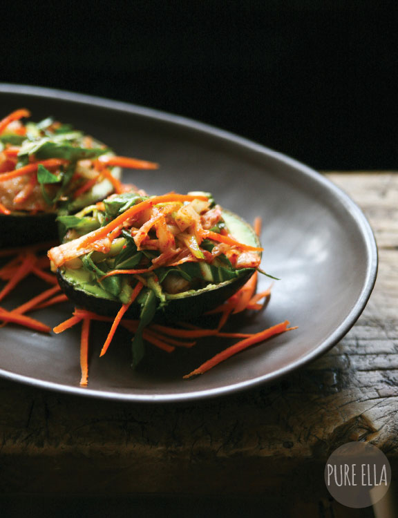 Kimchi Zen Salad in Avocado Shells - gluten-free and vegan