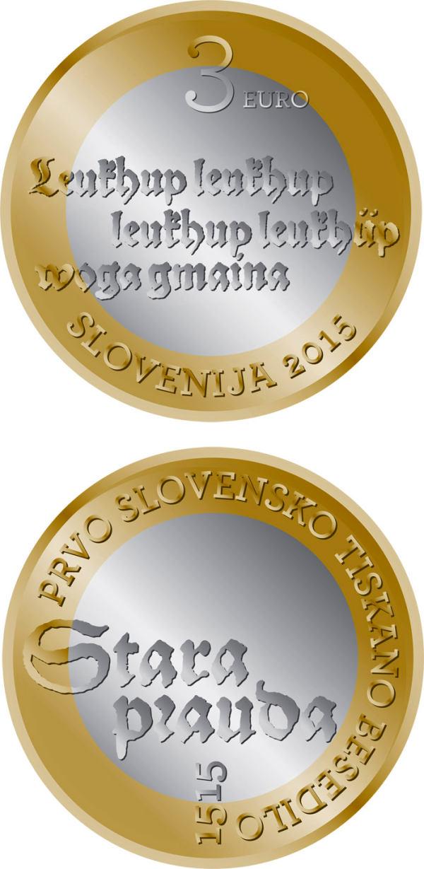 3 Euro Slovinsko 2015, Slovinský tlačený text