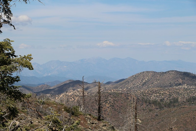 Zoomed in view of Mount Baldy in the far distance to the west from PCT Mile 282