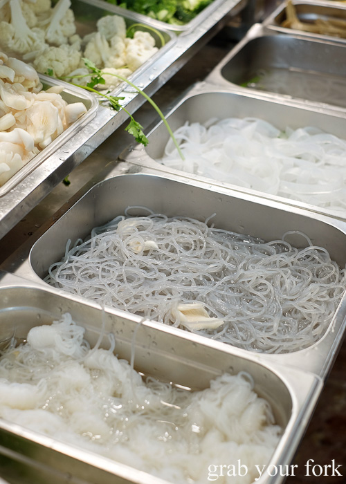 Konjac shirataki noodles made from elephant yam at Yang Guo Fu Ma La Tang, Haymarket