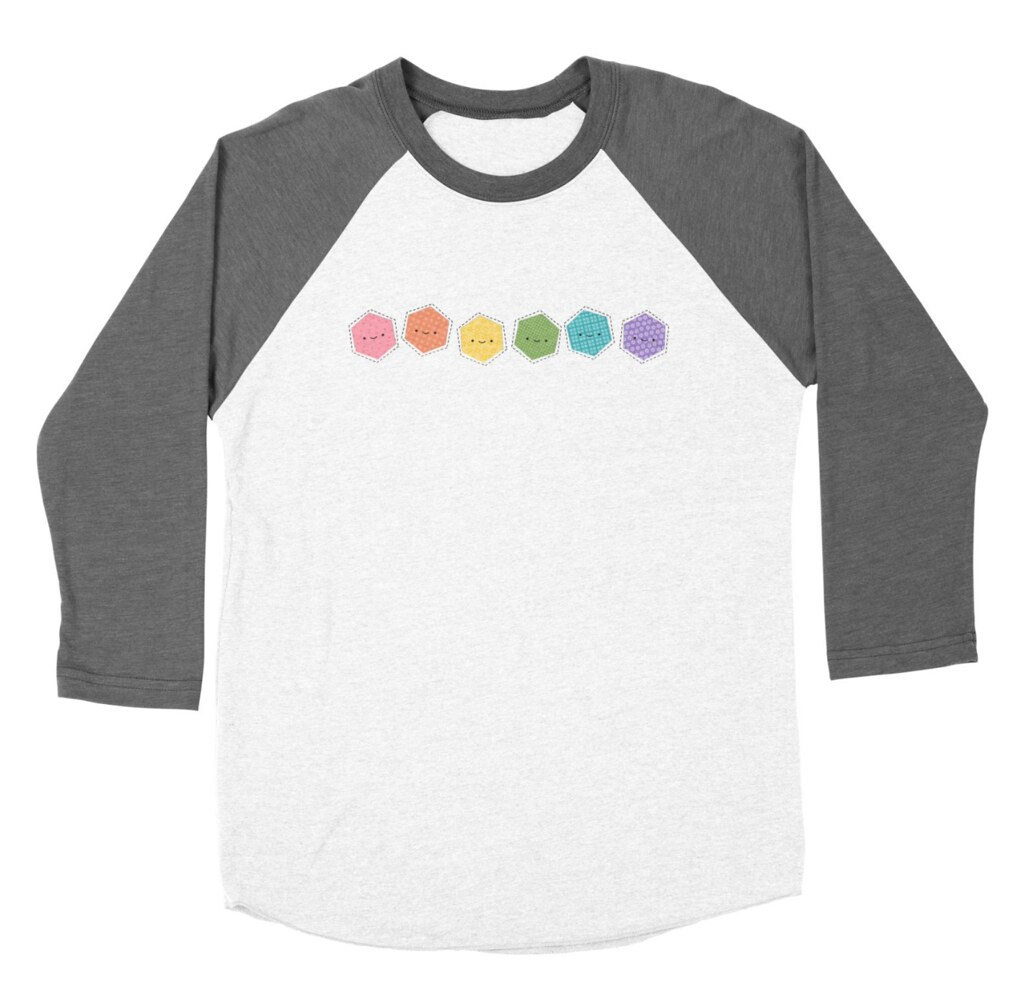 A Rainbow of Hexagons Baseball Tee