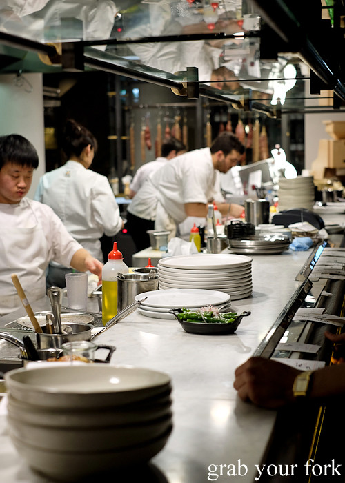 Chefs on the line at Mercado restaurant, Sydney