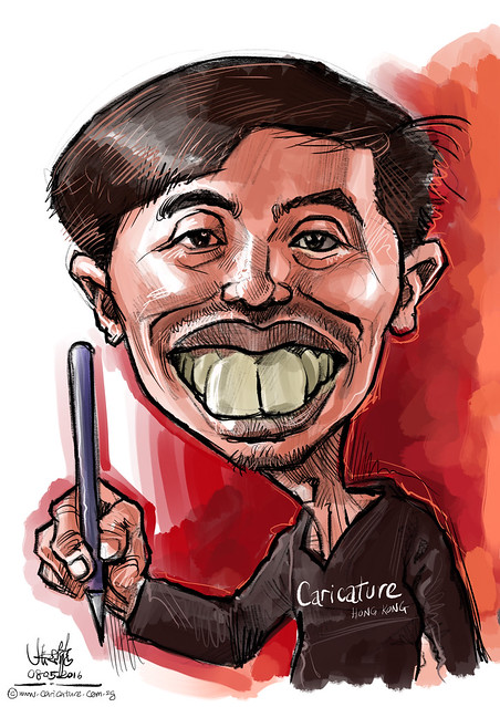 Digital caricature of William Ng on iPad Pro + Apple Pencil in Procreate