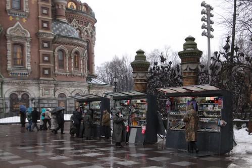 Souvenir stalls outside the church, beside Mikhailovsky Garden
