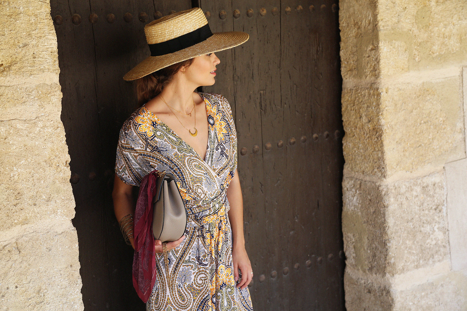 jessie chanes seams for a desire paisley jumpsuit summer hat chloe bag-2