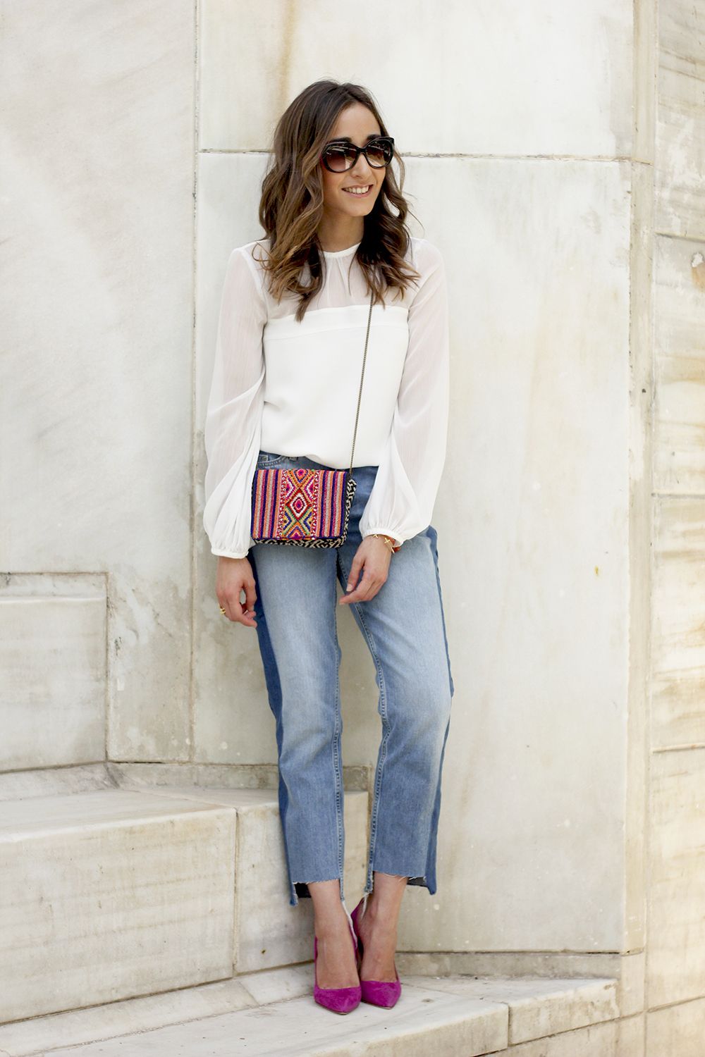 Boyfriend Jeans With Asymmetrical Hems white blouse carolina herrera heels daydaday bag outfit style streetstyle17