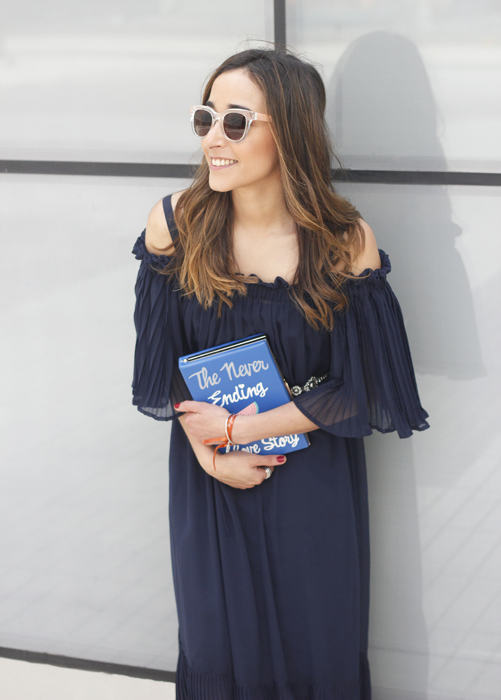 A Midi Dress With Pleated Ruffles heels clutch accessories sunnies fashion outfit summer23