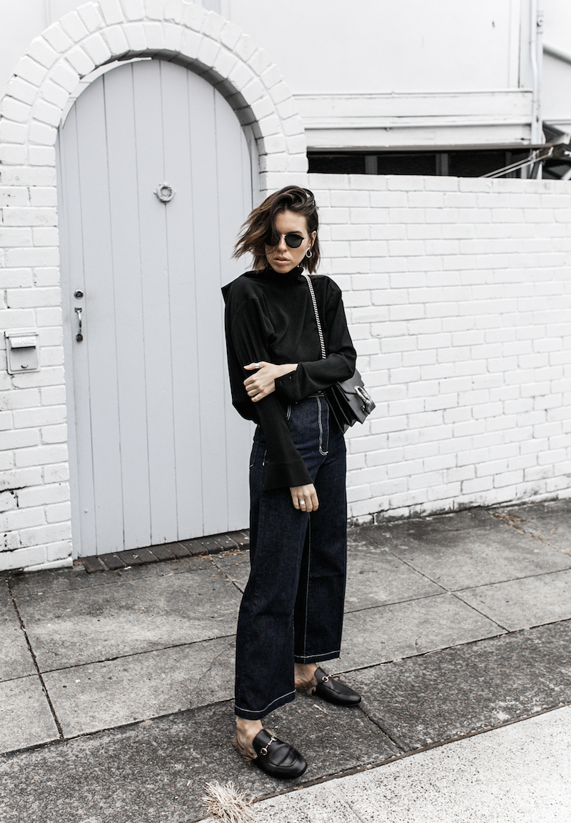 gucci dionysus black chain bag rachel comey wide leg jeans street style inspo minimal fashion blogger fur horsebit loafer Instagram (14 of 14)