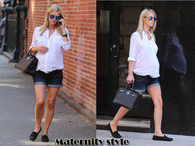Chic-Maternity-style-of-denim-with-cuffed-hem-shorts-white-button-down-linen-shirt,Maternity style, maternity fashion, pregnancy fashion, pregnancy style, chic maternity style, chic pregnant style, large reflective sunnies, cuffed hemline shorts, denim cut off shorts, large reflective sunglasses, black loafers,  designer leather handbag, white button down linen shirt