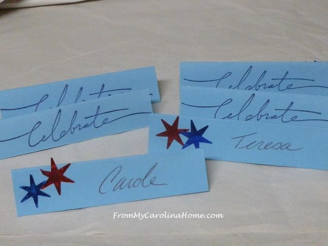 Patriotic place cards at From My Carolina Home