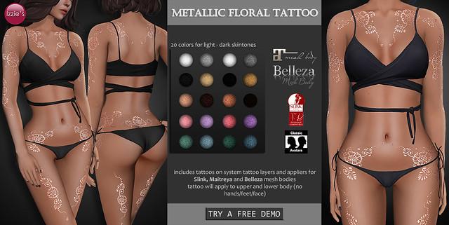 Metallic Floral Tattoo