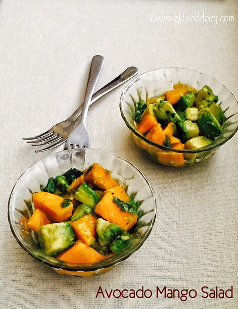 Avocado Mango Salad Recipe for Babies, Toddlers and Kids