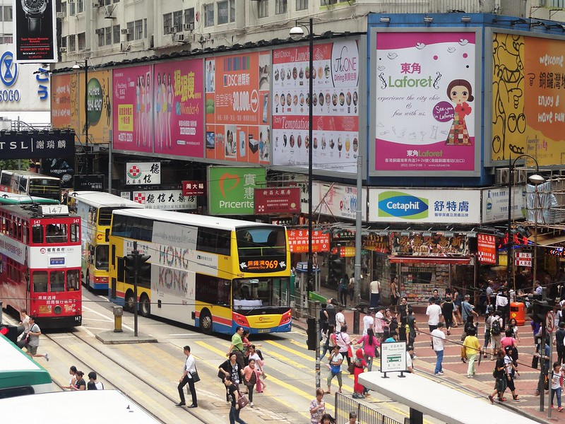 Double decker trams and busses of Hong Kong. Image: Fabio AChili, Flickr CC