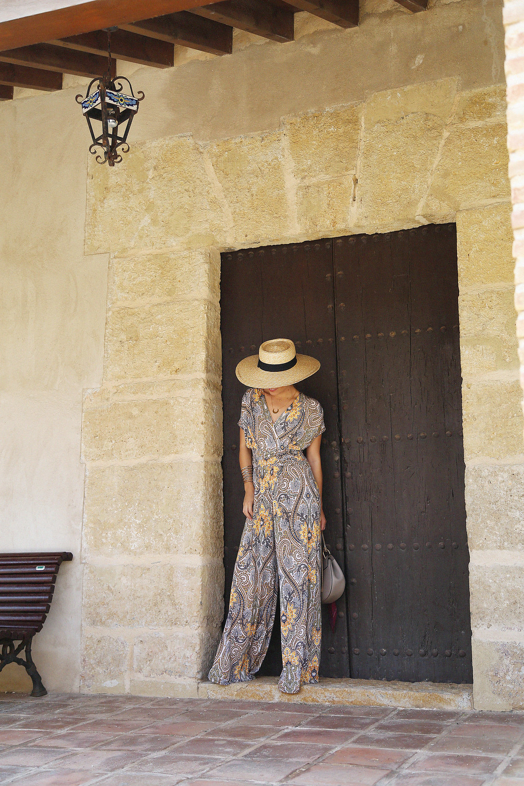 jessie chanes seams for a desire paisley jumpsuit summer hat chloe bag-11