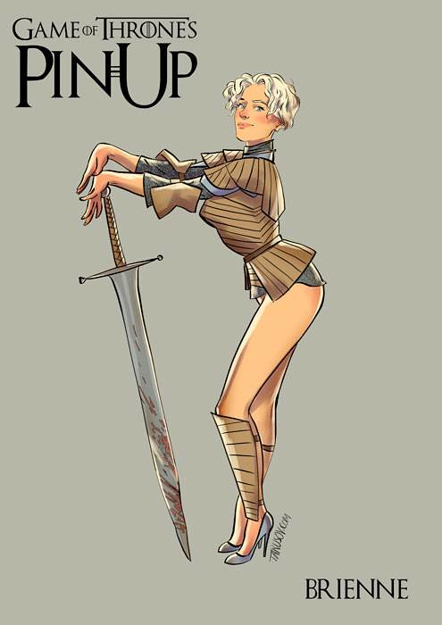 Risqué Game of Thrones pin-up girls by Andrew Tarusov - Brienne of Tarth