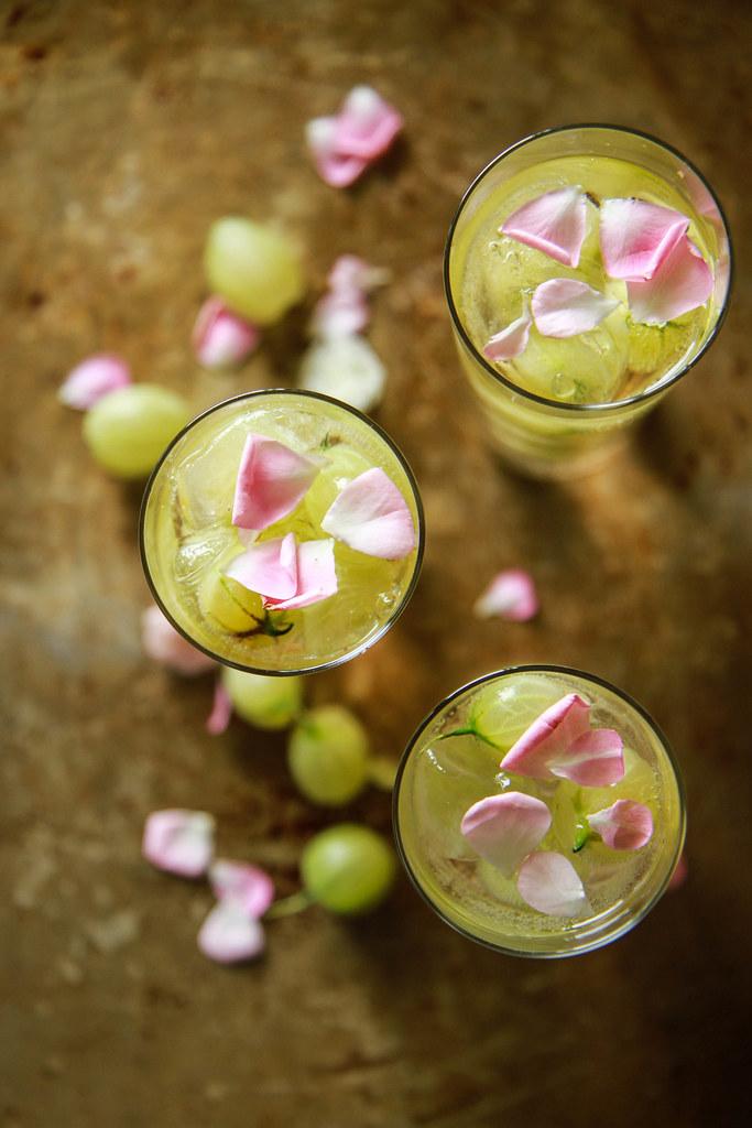 Gooseberry Elderflower Champagne Cocktail from HeatherChristo.com
