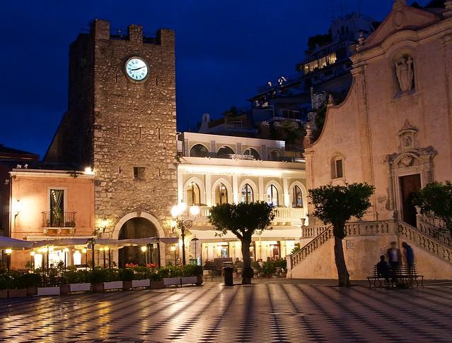 Taormina centre clock tower at night