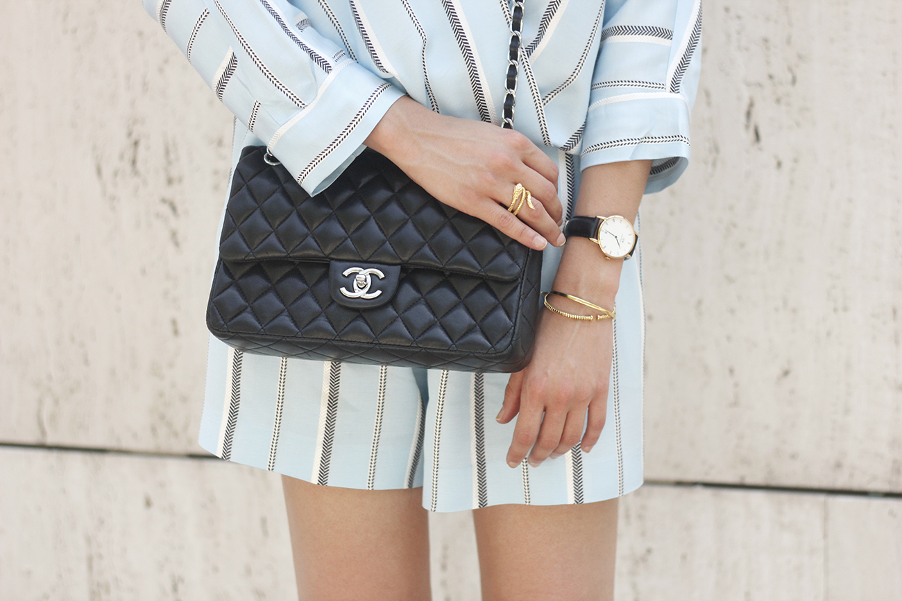 Maje Jumpsuit with stripes black heels chanel bag summer outfit street style fashion16
