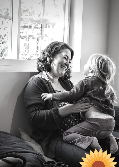 Laughter between mother and daughter