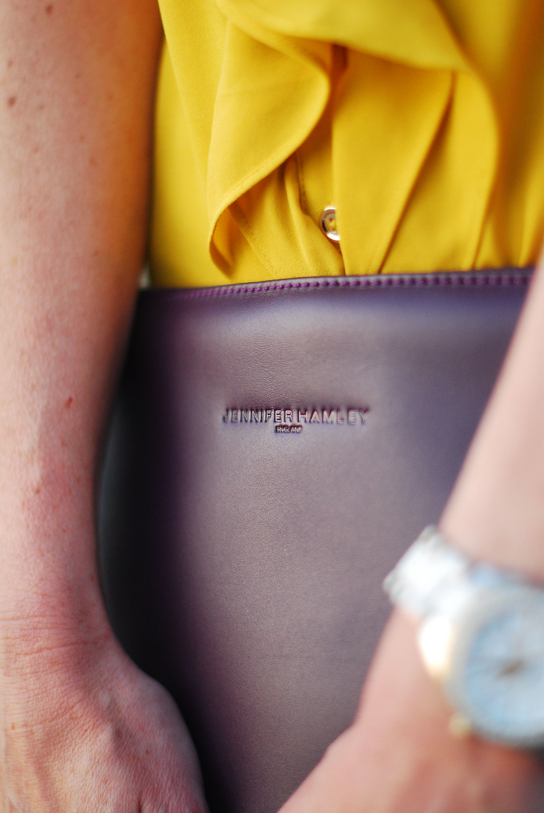 Summer brights: Ruffled yellow blouse, Jennifer Hamley Model KT Workbag clutch | Not Dressed As Lamb